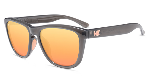 Sport Sunglasses with Jelly Grey Frames and Polarized Peach Lenses, Flyover