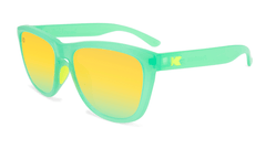 Sunglasses with Jelly Melone Frames and Polarized Yellow Lenses, Flyover