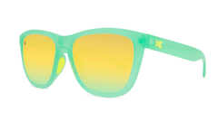 Sunglasses with Jelly Melone Frames and Polarized Yellow Lenses, Threequarter