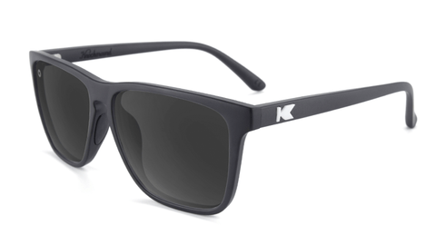 Sport Sunglasses with Matte Black Frame and Polarized Black Smoke Lenses, Flyover