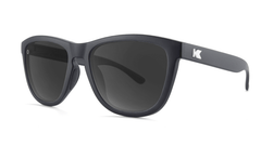Sport Sunglasses with Matte Black Frame and Polarized Black Smoke Lenses, Threequarter