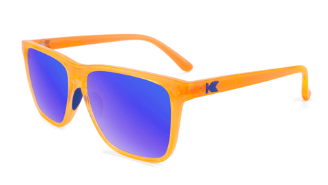 Sport Sunglasses with Neon Orange Frame and Polarized Blue Moonshine Lenses, Flyover
