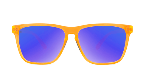 Sport Sunglasses with Neon Orange Frame and Polarized Blue Moonshine Lenses, Back