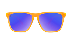 Sport Sunglasses with Neon Orange Frame and Polarized Blue Moonshine Lenses, Front