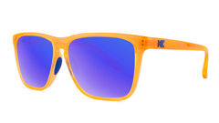 Sport Sunglasses with Neon Orange Frame and Polarized Blue Moonshine Lenses, Threequarter