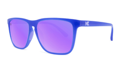 Sport Sunglasses with Neptune Blue Frame and Polarized Lilac Lenses, Threequarter