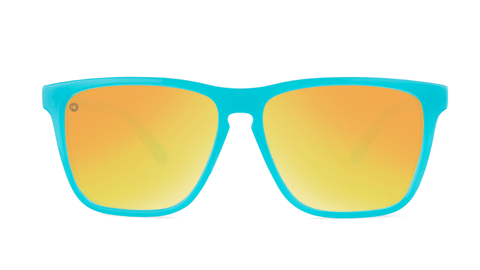 Sport Sunglasses with Pool Blue Frame and Polarized Orange Sunset Lenses, Back
