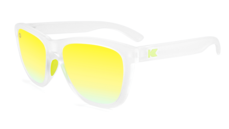 Sport Sunglasses with Rubberized Clear Frame and Polarized Yellow Lenses, Flyover