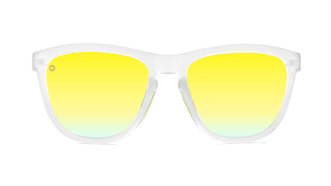 Sport Sunglasses with Rubberized Clear Frame and Polarized Yellow Lenses, Back