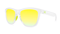 Sport Sunglasses with Rubberized Clear Frame and Polarized Yellow Lenses, Threequarter