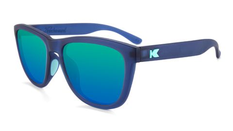 Sunglasses with Rubberized Navy Frames and Polarized Mint Lenses, Flyover