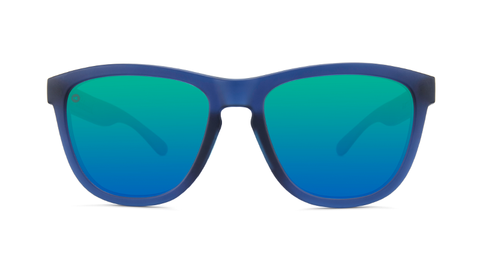 Sunglasses with Rubberized Navy Frames and Polarized Mint Lenses, Back