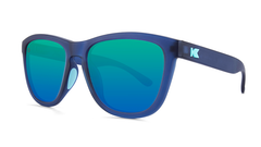 Sunglasses with Rubberized Navy Frames and Polarized Mint Lenses, Threequarter