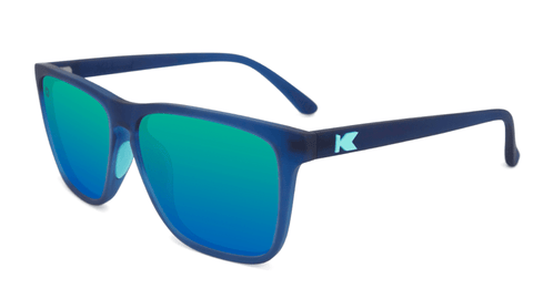 Sunglasses with Navy Frames and Polarized Mint Green Lenses, Flyover