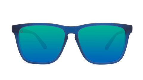 Sunglasses with Navy Frames and Polarized Mint Green Lenses, Back
