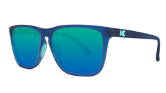 Sunglasses with Navy Frames and Polarized Mint Green Lenses, Threequarter