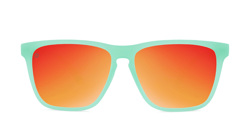 Sport Sunglasses with Spearmint Frame and Polarized Red Sunset Lenses, Back