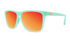 Sport Sunglasses with Spearmint Frame and Polarized Red Sunset Lenses, Threequarter