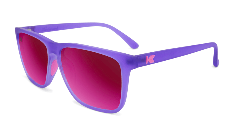 Sunglasses with Rubberized Ultraviolet Frames and Polarized Fuchsia Lenses, Flyover
