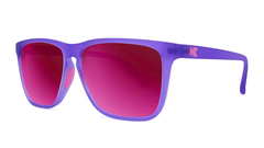Sunglasses with Rubberized Ultraviolet Frames and Polarized Fuchsia Lenses, Threequarter