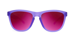Sunglasses with Rubberized Ultraviolet Frames and Polarized Fuchsia Lenses, Front