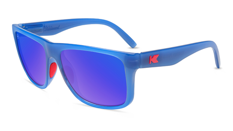 Sunglasses with Glossy Blue Frames and Polarized Moonshine Lenses, Flyover