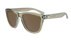 Sunglasses with Aged Sage Frames and Polarized Amber Lenses, Flyover
