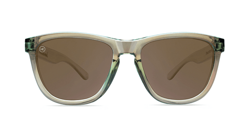 Sunglasses with Aged Sage Frames and Polarized Amber Lenses, Back