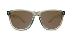 Sunglasses with Aged Sage Frames and Polarized Amber Lenses, Front