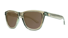 Sunglasses with Aged Sage Frames and Polarized Amber Lenses, Threequarter