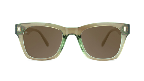 Sunglasses with Aged Sage Frame and Polarized Amber Lenses, Back