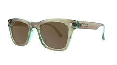 Sunglasses with Aged Sage Frame and Polarized Amber Lenses, Threequarter
