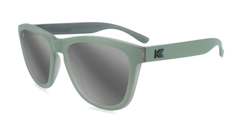 Sunglasses with Battleship Frames and Polarized Silver Smoke Lenses, Flyover