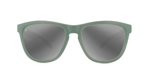 Sunglasses with Battleship Frames and Polarized Silver Smoke Lenses, Back