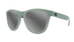Sunglasses with Battleship Frames and Polarized Silver Smoke Lenses, Threequarter