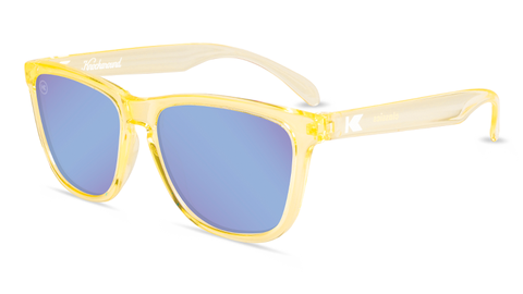 Sunglasses with Peach Frames and Polarized Snow Opal Lenses, Flyover