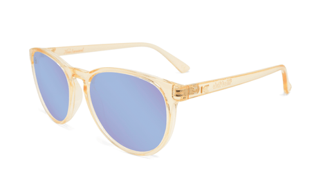 Sunglasses with Glossy Peach Frames and Polarized Snow Opal Lenses, Flyover