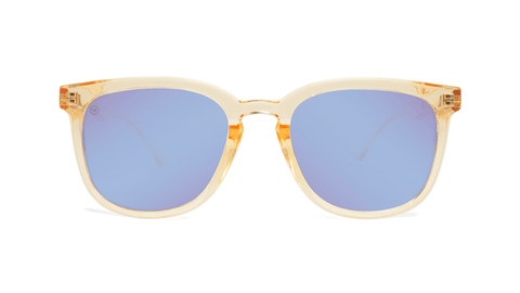 Sunglasses with Glossy Peach Frames and Polarized Snow Opal Lenses, Back