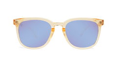 Sunglasses with Glossy Peach Frames and Polarized Snow Opal Lenses, Front