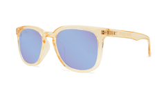 Sunglasses with Glossy Peach Frames and Polarized Snow Opal Lenses, Threequarter