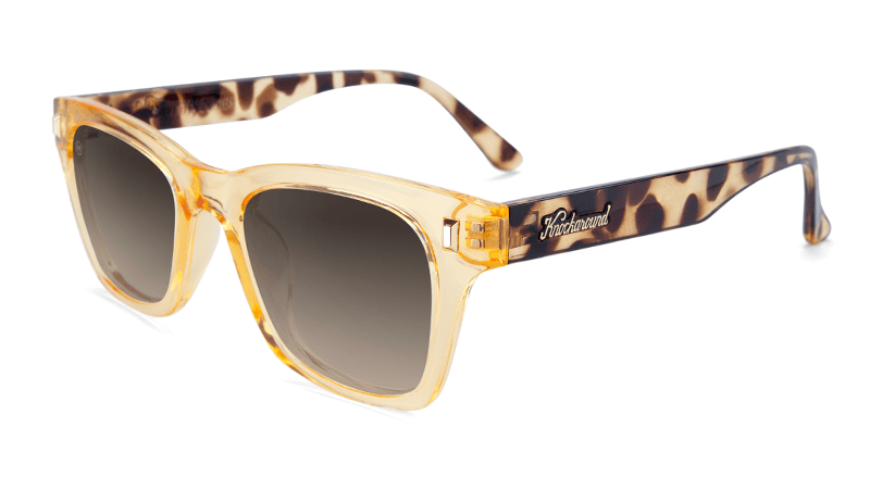 Sunglasses with Beverly Peach Frames and Amber Gradient Lenses, Flyover