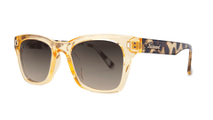 Sunglasses with Beverly Peach Frames and Amber Gradient Lenses, Threequarter