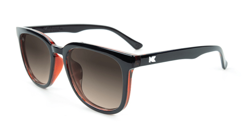 Sunglasses with Glossy Black and Brick Geode Frames and Polarized Amber Gradient Lenses, Flyover