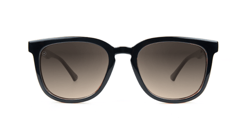 Sunglasses with Glossy Black and Brick Geode Frames and Polarized Amber Gradient Lenses, Back