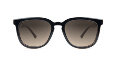 Sunglasses with Glossy Black and Brick Geode Frames and Polarized Amber Gradient Lenses, Front