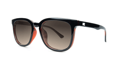 Sunglasses with Glossy Black and Brick Geode Frames and Polarized Amber Gradient Lenses, Threequarter