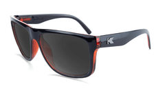 Sunglasses with Black Brick Geode Frames and Polarized Black Smoke Lenses, Flyover