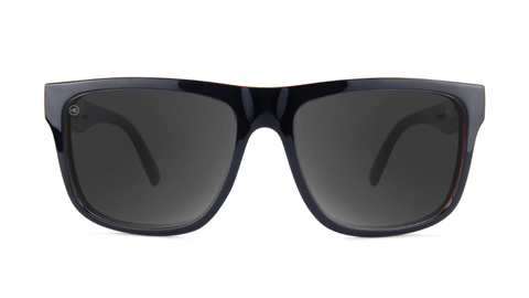 Sunglasses with Black Brick Geode Frames and Polarized Black Smoke Lenses, Back