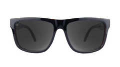 Sunglasses with Black Brick Geode Frames and Polarized Black Smoke Lenses, Front