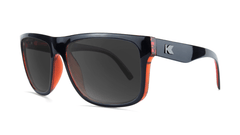 Sunglasses with Black Brick Geode Frames and Polarized Black Smoke Lenses, Threequarter